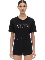 Valentino Vltn Logo Printed Cotton Jersey T Shirt Black