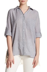 Tassels N Lace Button Up Hi Lo Shirt Gray