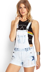 Forever 21 Bleached Denim Overall Shorts Light Denim