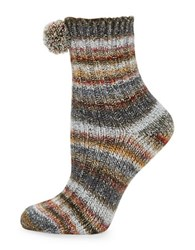Free People Pom Pom Ribbed Striped Crew Socks Ivory