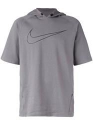 Nike City Short Sleeve Running Hoodie Grey