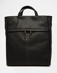 Asos Backpack Hybrid Tote In Black Faux Leather