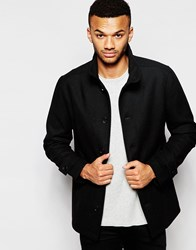 Jack And Jones Jack And Jones Premium Wool Funnel Neck Coat Black