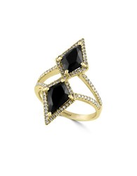 Effy Eclipse Onyx Diamond And 14K Yellow Gold Geo Ring