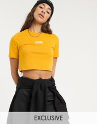 Vans Drop V Cropped T Shirt In Yellow Exclusive At Asos Copper