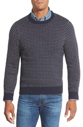 Men's Big And Tall Nordstrom Knit Stitch Crewneck Sweater With Elbow Patches Navy Peacoat