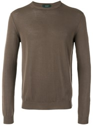 Zanone Crew Neck Jumper Brown