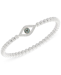 Wrapped Diamond 1 6 Ct. T.W. Evil Eye Bead Stretch Bracelet In Sterling Silver