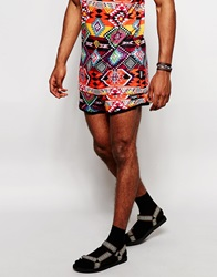 Jaded London Festival Shorts In Aztec Print Orange