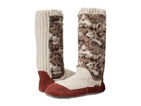 Acorn Slouch Boot Tribal Tan Knit Women's Slippers Multi