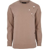 River Island Mensbig And Tall Dark Pink Distressed Sweatshirt