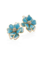 Kenneth Jay Lane Flower Crystal And Enamel Stud Earrings Blue Turquoise