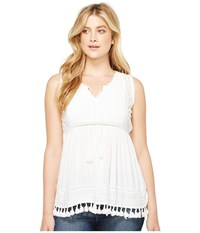 Dylan By True Grit Fringed Coquette Lace And Crochet Blouse Soft White Women's Sleeveless