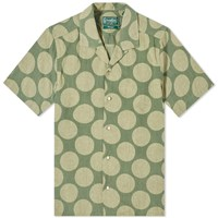 Gitman Brothers Vintage Short Sleeve Camp Collar Dot Shirt Green