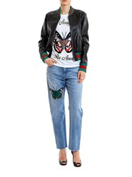 Gucci Embroidered Leather Jacket Black
