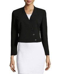 Akris Pezzi Cropped Asymmetric Blazer Black