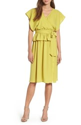 Lost Ink Wrap Midi Dress Lime
