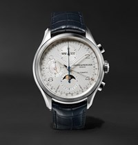 Baume And Mercier Clifton Automatic Chronograph 43Mm Stainless Steel Alligator Watch Navy