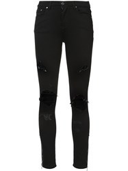 Amiri Distressed Detail Jeans Cotton Spandex Elastane Black