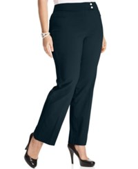 Styleandco. Style Co. Plus Size Tummy Control Straight Leg Trousers Industrial Blue
