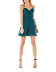 Bcbgmaxazria Silk Chiffon Wrap Halter Dress Bright Elm