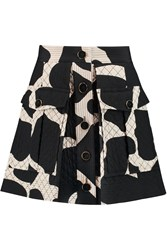 Dkny Quilted Printed Silk Blend Mini Skirt Black