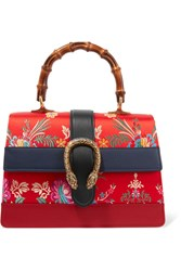 Gucci Dionysus Bamboo Medium Leather And Floral Jacquard Tote Red