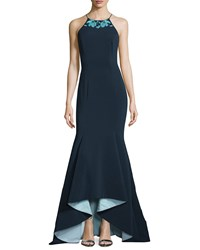Badgley Mischka Embroidered Jewel Neck High Low Gown Navy Multi Women's