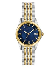 Bulova Blue Dial Two Tone Stainless Steel Link Bracelet Watch