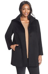 Plus Size Women's Fleurette Wool Stand Collar Car Coat Black