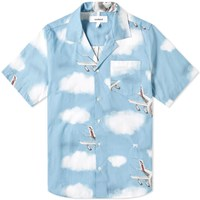 Soulland Short Sleeve Airplane Print Vacation Shirt Blue