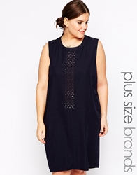 Carmakoma Midi Shift Dress With Airtex Detail Navy