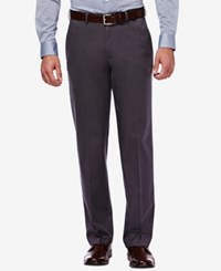 Haggar Premium No Iron Stretch Waist Classic Fit Pants Dark Grey