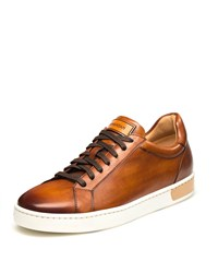 Magnanni Boltan Caballero Hand Painted Leather Low Top Sneakers Cognac