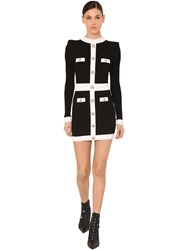 Balmain Viscose Rib Knit Mini Dress Black