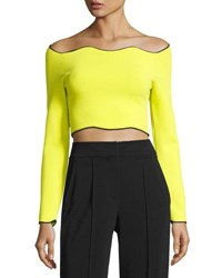 Cedric Charlier Cropped Long Sleeve Wave Hem Top Yellow