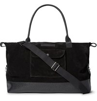 Oliver Spencer Pebble Grain Leather Trimmed Suede Holdall Black