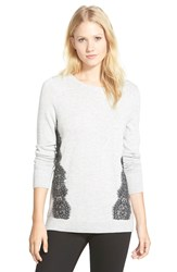 Halogen Lace Trim Crewneck Sweater Regular And Petite Light Grey Grey Colorblock