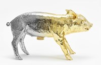 Areaware Metallic Bank In The Form Of A Pig Yellow