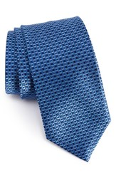 David Donahue Men's Geometric Silk Tie Blue