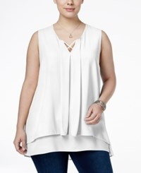 Monteau Trendy Plus Size Tiered Top White
