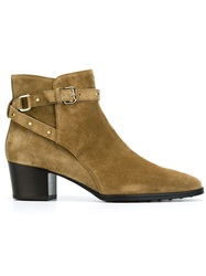 Tod's Studded Buckled Strap Ankle Boots Brown