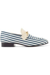 Joseph Embellished Striped Leather Loafers Blue