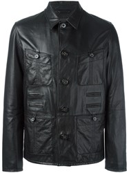 Lanvin Grained Effect Leather Jacket Black