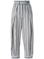 Sportmax High Rise Cropped Striped Trousers White