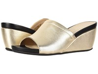 David Tate Mint Platinum Lamb Wedge Shoes Gold