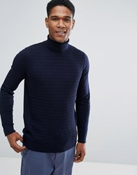 Threadbare Cable Knit Roll Neck Sweater Navy