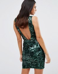Forever Unique Gladice V Neck Sequin Mini Dress Green