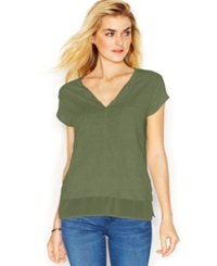 Sanctuary Short Sleeve Layered Look Top Army