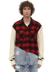 Greg Lauren Plaid Cotton And Denim Studio Jacket Red
